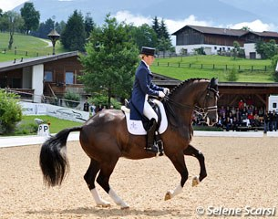 Charlotte Dujardin and Valegro with the Schindlhof in the Alps in the background