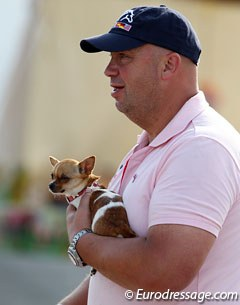 Stephanie Kooijman's father with her Chihuahua