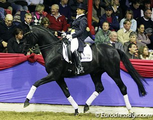 Australian Tanya Seymour on Dr. Doolittle (by Donnerhall x Lauries Crusador xx). The black appeared a bit ponyesque but he did sire on the best stallions competing in the 2011 Oldenburg Stallion Licensing