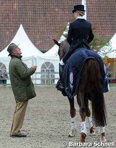 Trainer Klaus Balkenhol gives tips to Helen Langehanenberg