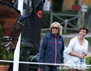 British trainer Judy Harvey and Abigail Slater's mom watch Abigail on Lou Wega finish her test