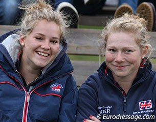 British young riders Olivia Oakeley and Roberta Hayler came to cheer on the British juniors