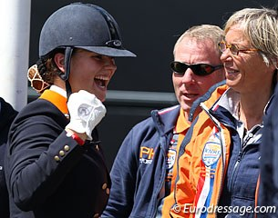 Dana van Lierop wins the individual test, chef d'equipe Tineke Bartels is happy