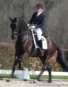Iris Groeneveld on Boogie Woogie (by Tango x Metall). The black gelding excelled in canter but struggled with the contact and flying changes