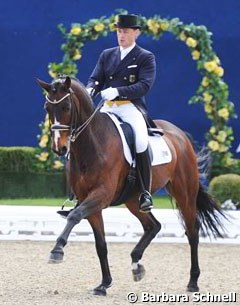 Johannes Augustin and Norblin won bronze at the 2012 German Professional Dressage Riders Championships
