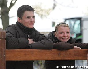 "Ton de Ridder's stable riders Max Wadenspanner and Geertje Hesse. Both completed the ""Pferdewirtschaftsmeister"" training successfully three weeks ago"