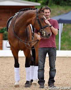 Isabell Werth's Spanish groom Guillem Barcelo with El Santo