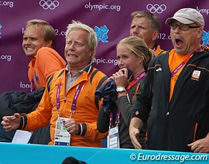 Maarten van der Heijden (left), technical director of the Dutch Equestrian Federation, during the jump-off for silver
