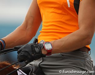 Adelinde Cornelissen wears a special watch on which she can keep track of her horse's heart rate.