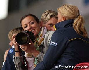 Australian Grand Prix rider Lyndal Oatley playing paparazza in Herning