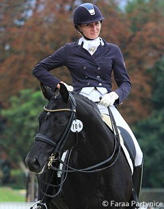 Dominika Krasko-Bialek on the licensed breeding stallion Dr. Doolittle