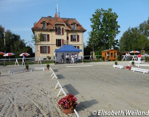 The arena for the Swiss Warmblood elite mare show in Avenches, Switzerland