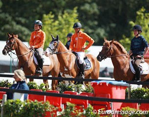 Two Dutch and a Belgian jumper watched the dressage for a while