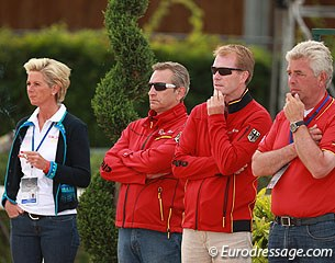 Julia de Ridder's mom and coach Alexandra Simons-de Ridder, the German team vet, and youth rider coaches Oliver Oelrich and Hans Heinrich Meyer zu Strohen