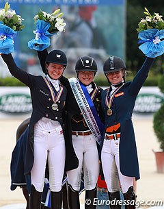 The kur podium with Alexandra Andresen, Anna Christina Abbelen and Rosalie Bos at the 2014 European Junior Riders Championships in Arezzo :: Photo © Astrid Appels