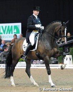 Hubertus Schmidt on the Danish bred Hedelunds Mefisto, which was previously trained by Joachim Thomsen.