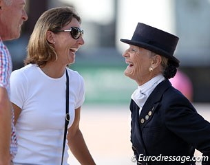 Trainer Mikala Gundersen and Janne Rumbough having a laugh about Janne going off course twice