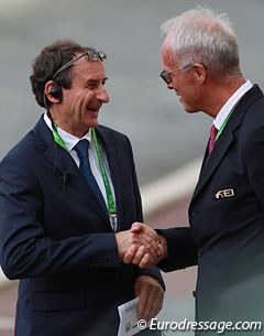 Dressage show director Didier Ferrer and FEI Dressage Director Trond Asmyr