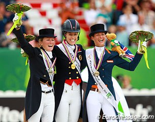Joy on the kur podium: big smiles from Helen Langehanenberg, Charlotte Dujardin and Adelinde Cornelissen