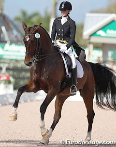 Laura Graves on Verdades. The bay KWPN gelding showed amazing sit in the pirouettes but struggled with the rhythm and balance in the piaffe