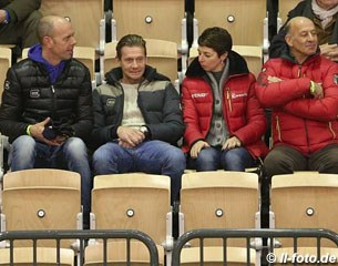 Hans Peter Minderhoud, Edward Gal, Monica Theodorescu, and Jonny Hilberath watching the national Grand Prix
