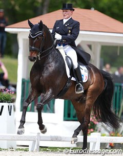 Karen Tebar made her international debut on her new ride Ricardo, which she bought from Carmen Naesgaard. The Hanoverian is a super talented horse but was still a bit over eager and excited in the ring