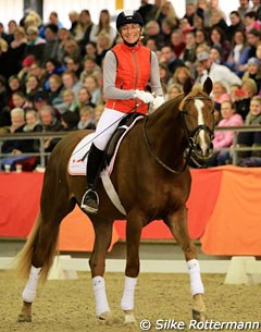 The barely 4-year-old Westfalian stallion Firlefranz left the arena calmer than he entered it