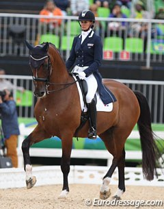 The first dressage rider at the Olympics for the Dominican Republic: Yvonne Losos de Muniz and Foco Loco W :: Photo © Astrid Appels