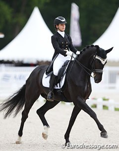 Swiss Carla Aeberhard on the 9-year old Swiss bred Delioh von Buchmatt (by Danone I x Wolkenstein II). Melanie Hofmann first competed the black  as a youngster and rode him at the 2013 and 2014 World YH Championships