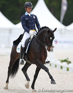Swedish Mads Hendeliowitz on Malin Isaksson's 8-year old Swedish warmblood Frans Andreo II (by Sandreo x Weltmeyer)