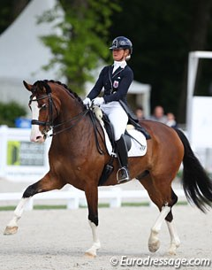 Danish born Luxembourg rider Kristine Moller on the Opländer family's Oldenburg bred Freak Blue Phantom, a 12-year old Florencio x Feinbrand offspring