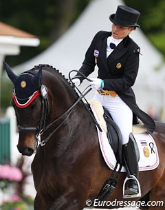 Thai Princess Siri Vajiralongkorn on the 17-year old Hanoverian Prince Charming WPA (by Prince Thatch xx x World Cup I), owned by the Thailand Equestrian Federation