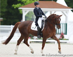 After riding the developing PSG horse test at the CDI Hagen in April, Ann-Christin Wienkamp moved her 8-year old Hanoverian Double Click (by Diamond Hit x Rotspon) up to the traditional small tour classes in Compiegne