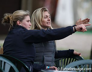 During the Intermediaire I, Danish Anna Zibrandtsen was practicing and memorizing her Grand Prix Special with a friend