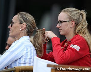 Linda Erbe braiding her mom's hair