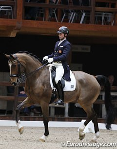 Portuguese Pedro Luiz Pavao on D'Artagnan. The bay was previously competed by Australian Under 25 rider William Matthew and is registered with the FEI as owned by Henri Ruoste and Palstra Oy.