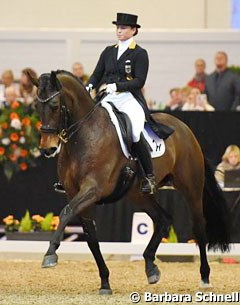 Isabell Werth on Lisa Muller's Dutch warmblood mare Anne Beth (by Oscar x Corleone)