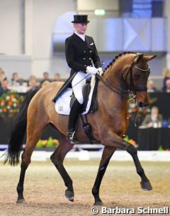 Brigitte Wittig and the 11-year old home bred Bodega W (by Breitling x Fabriano) won the Short Grand Prix with 71.116%