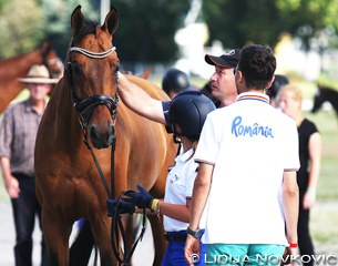 Catinca Vasiliu with Conte at the horse inspection
