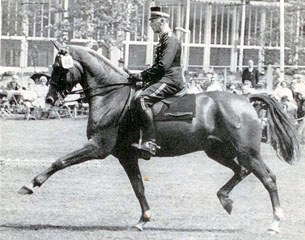 Henri St. Cyr on Brokat at the 1955 Hamburg Dressage Derby