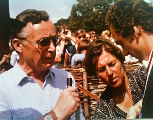 Ruth Klimke flanked by German TV commentator Fritz Knippenberg and Dr Schulten Baumer Jr. at Goodwood in 1980