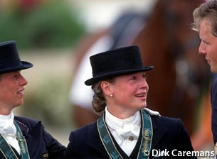 The 1996 Olympic medalists: Anky van Grunsven (silver), Isabell Werth (gold), Sven Rothenberger (bronze)