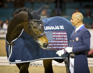 Steffen Peters with Legolas at the horse's retirement ceremony :: Photo © Terri Miller