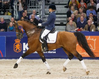 Jose Veltman and Alexandro P at the 2015 KWPN Stallion Licensing :: Photo © Dirk Caremans