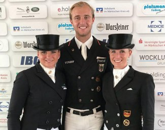 The 2018 German Championship kur medalists: Schneider, Rothenberger, Von Bredow-Werndl