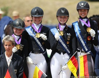 Germany with Holzknecht, Westendarp, Rothenberger and Welschof win team gold at the 2018 European Young Riders Championships :: Photo © Astrid Appels