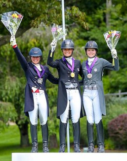 USDF North American Young Rider Individual Championship medalists: Beatrice Boucher, Callie Jones, and Kayla Kadlubek :: Photo © Sue Stickle