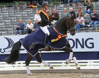 Frederic Wandres on Zucchero win the 5-YO final at the 2018 Bundeschampionate :: Photo © LL-foto