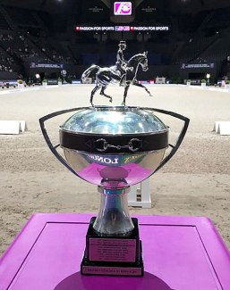 The FEI World Cup Trophy, on display at the 2018 WC Finals in Paris :: Photo © Astrid Appels