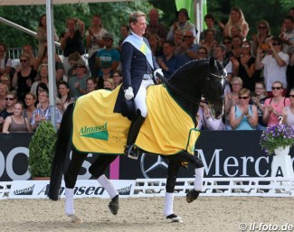 British Olympian Emile Faurie won the Hamburg Dressage Derby with horse change finals. Here he rides Bianca Kasselmann's Escada :: Photo © LL-foto